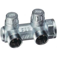 Хромированный запорный концевой коллектор MULTIFAR (ВР) с 2 отводами (МР) | FK 3876 C34