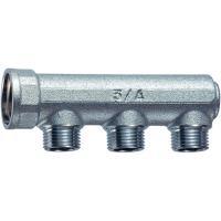 FK 3225 1   Хромированный концевой коллектор (ВР) с 3 отводами (НР)